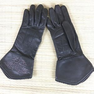 HARDLY DAVIDSON Leather Embroidered Riding Gloves